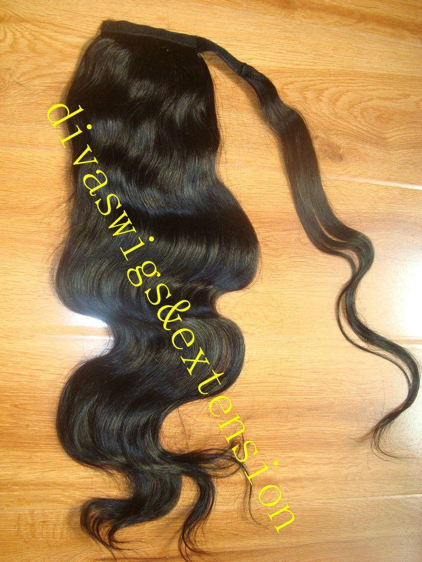 8A GRADE envoltório em torno do corpo fita onda rabo de cavalo clipe em cabelo humano com cordão peças de cabelo cauda de pônei para as mulheres negras