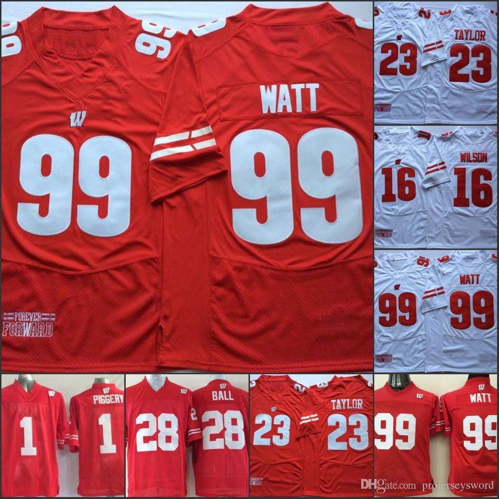 best loved 1d321 9cb1a Mens Wisconsin Badgers College Jersey 16 Russell Wilson 25 Melvin Gordon  III 99 J. J. Watt Jersey Home Away Red white