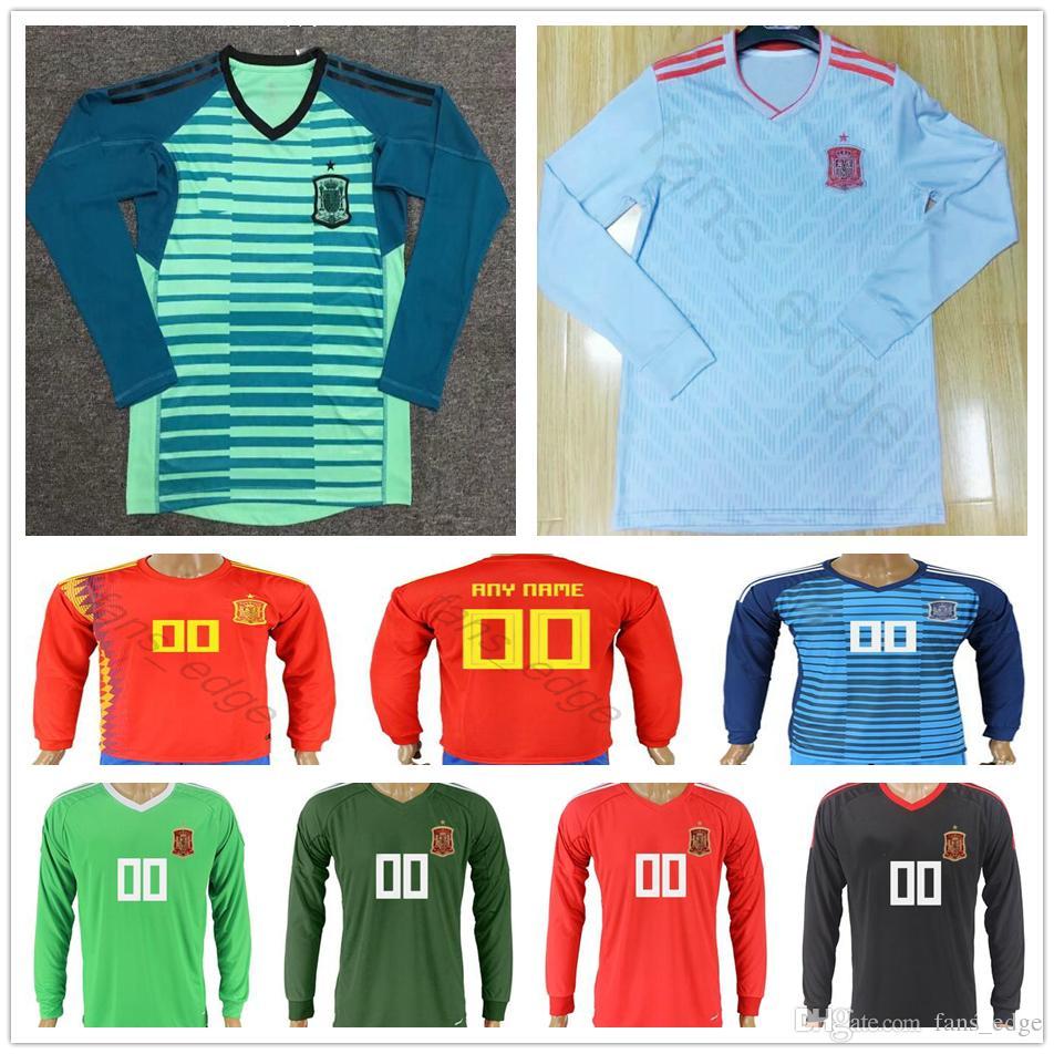 2018 España Copa Del Mundo Camisetas De Futbol De Manga Larga Portero  Personalizado 1 DE GEA IKER CASILLAS 23 REINA 13 ARRIZABALAGA Espana  Camiseta De ... 908a79abcae3a