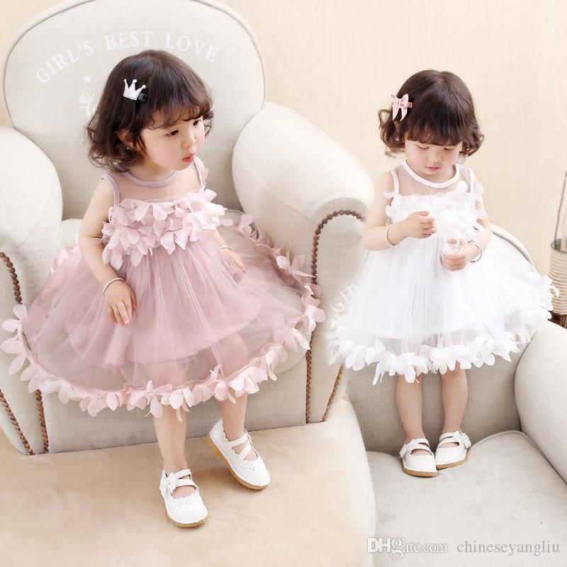 Girls Baby Tutu Dress New Summer Mesh Girls Clothes Pink Applique Princess Dress Children Summer Baby Clothes Girls Dress