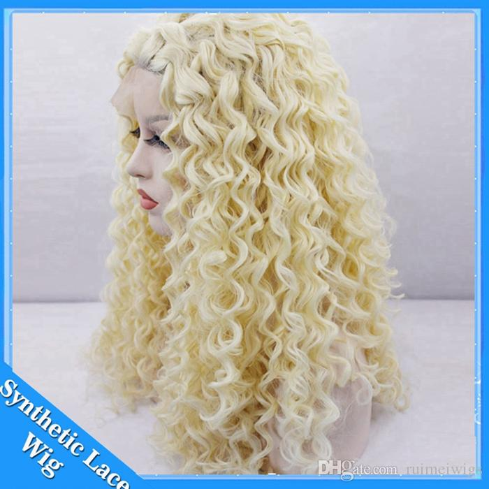 Blonde 613# Color Kinky Curly Synthetic Lace Front Wigs for African American Women Long Blonde Afro Curly Hair Heat Resistant Cosplay Wig