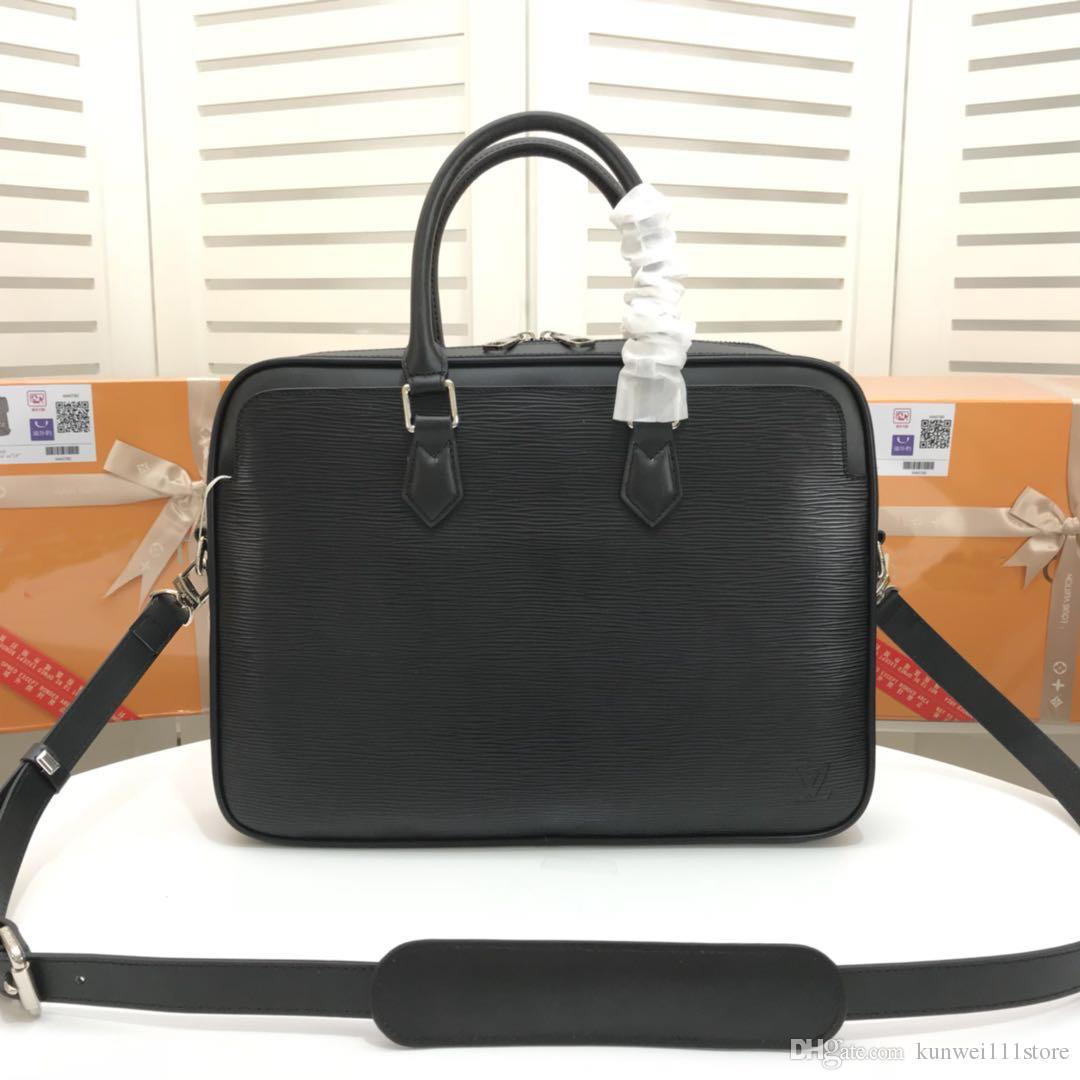 cd7dee80bae5 2019 Famous Brand Designer Briefcase Simple Mens Leather Briefcase Solid Large  Business Man Bag Laptop Bag Messenger Bag For Men Mens Leather Briefcase ...