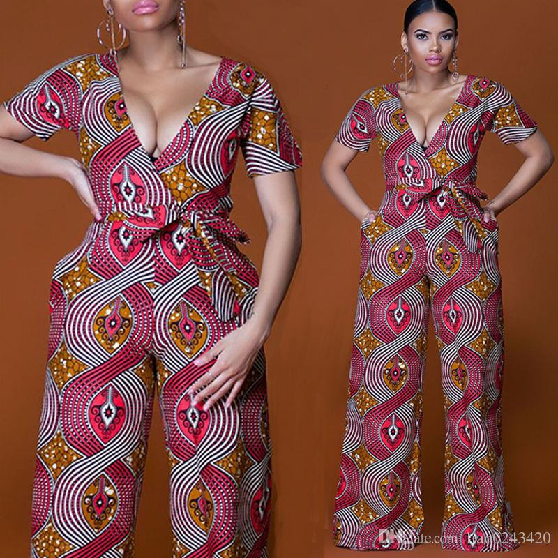a55078f0ac8 2019 Free Ship Women Fashion National African Dashiki Wide Leg Jumpsuit  Romper High Waisted Long Playsuit Clubwear Dashiki Outfit From Liao0243420