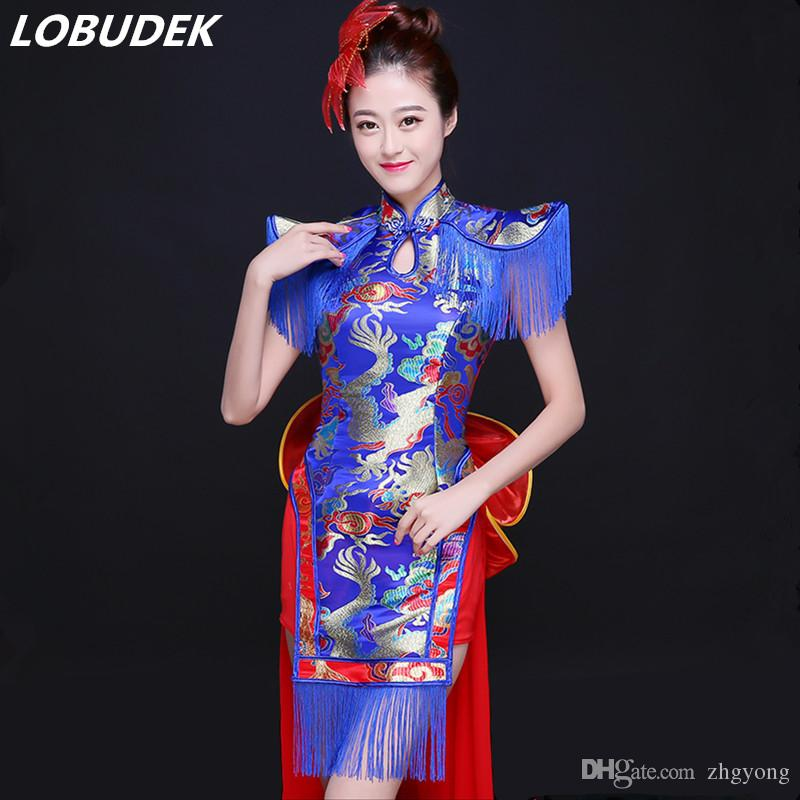 Adult Female Singer Dancer Chinese Style Folk Modern Dancing Costumes Blue  Embroidery Dress Group Stage Show Performance Clothes Costumes Performance  Stage ... effd7d2fd951