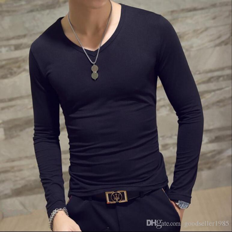 Winter Men Fashion Slim Fit Cotton V-Neck Long Sleeve Casual T-Shirt Tops Tee Black White Bray Brown Army Hot 4 size M L XL 2XL