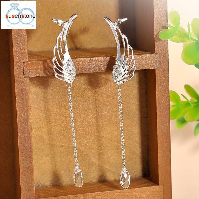SUSENSTONE Earrings Ear clip Silver Angel Wing Crystal Earrings Drop Dangle Ear Stud Clip Cuff angel wings clip earrings