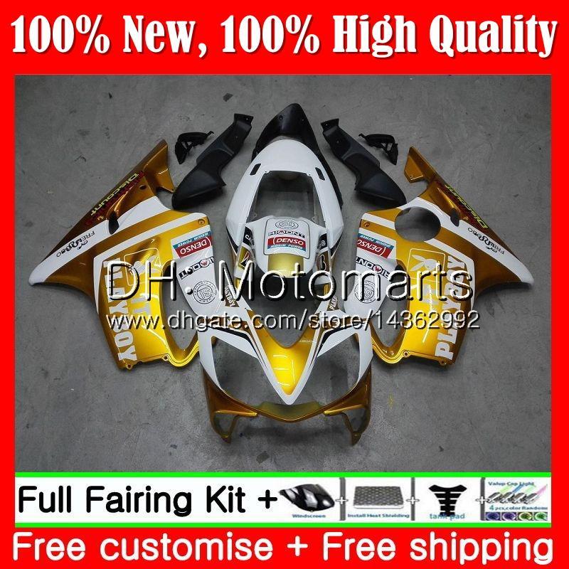 Corps Pour HONDA CBR600F4 Or blanc CBR600 F4 99 00 FS 44MT19 CBR 600F4 99 CBR600 FS CBR600FS CBR 600 F4 1999 2000 Carénage kit carrosserie