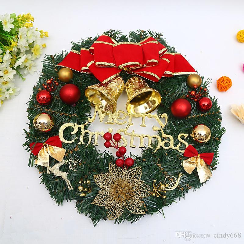 Buon Natale Ornament.Buon Natale Ghirlanda Pino Foglie Red Gold Bow Ghirlanda Di Natale Fiori Xmas Decoration Ornaments Party Supplies Home Decor