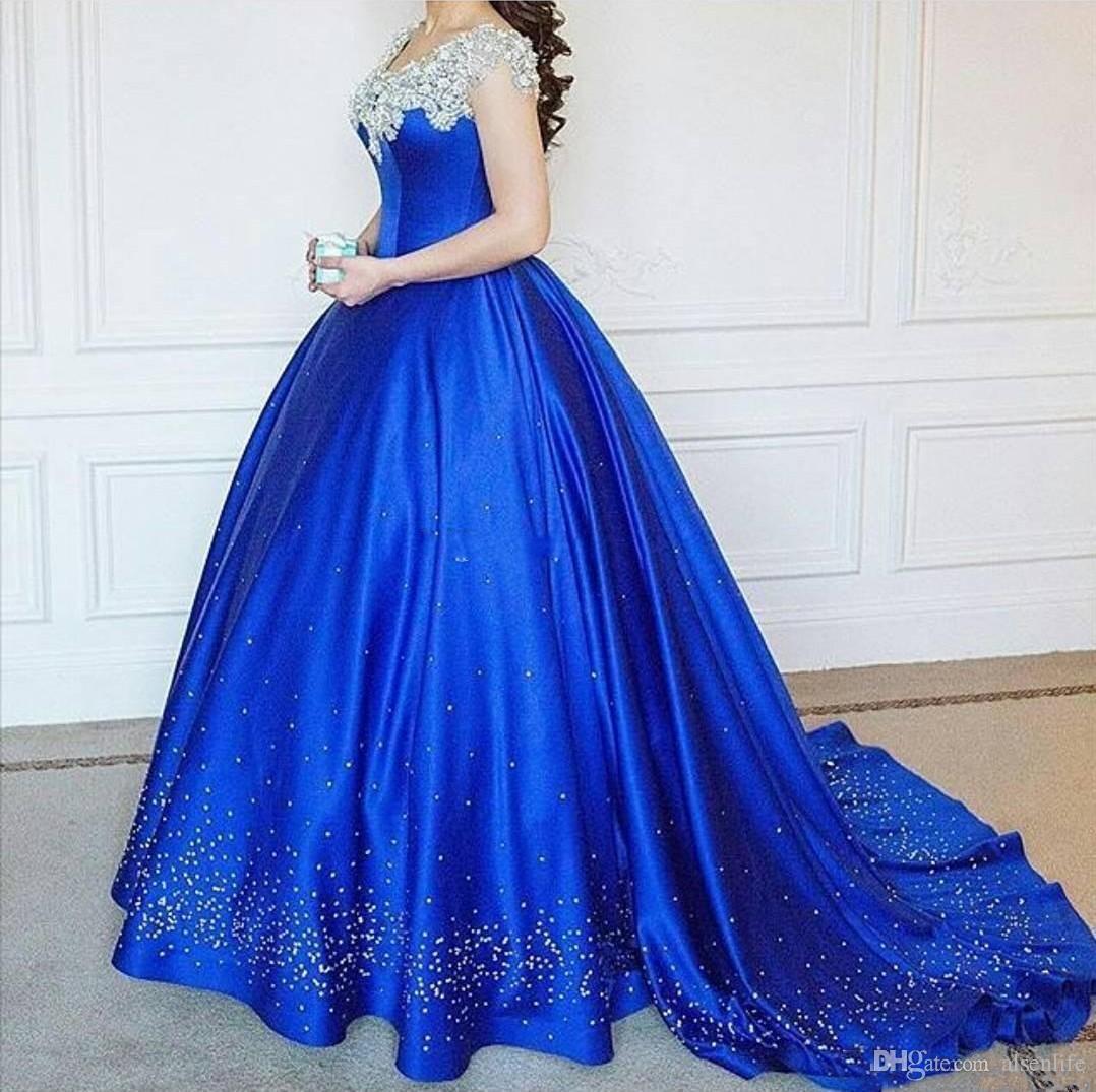 Parlak Kraliyet Mavi Balo Abiye 2017 Kapalı Omuz Cap Kollu Boncuk Arapça Artı Boyutu Balo Elbise Yeni Quinceanera Elbiseler