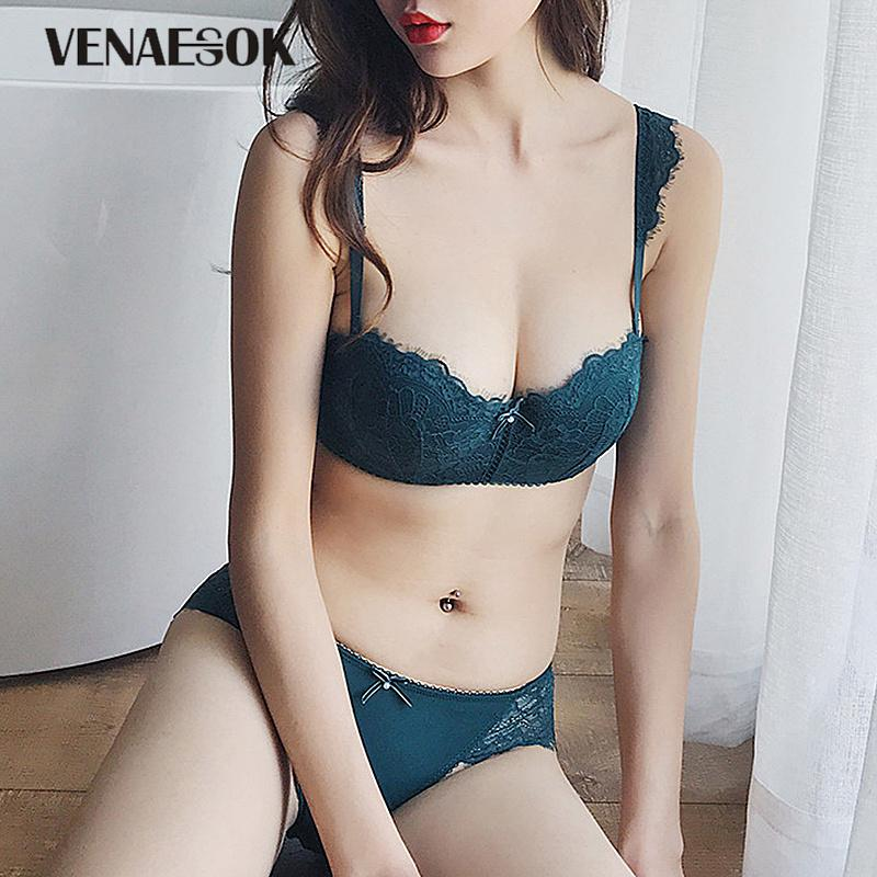 5d456ff373 2019 New Young Girl Embroider Lingerie Set Lace Green Bra A B C Cup Thick  Cotton Brassiere Women Bra Set Push Up Sexy Underwear Black From  Clothesg220