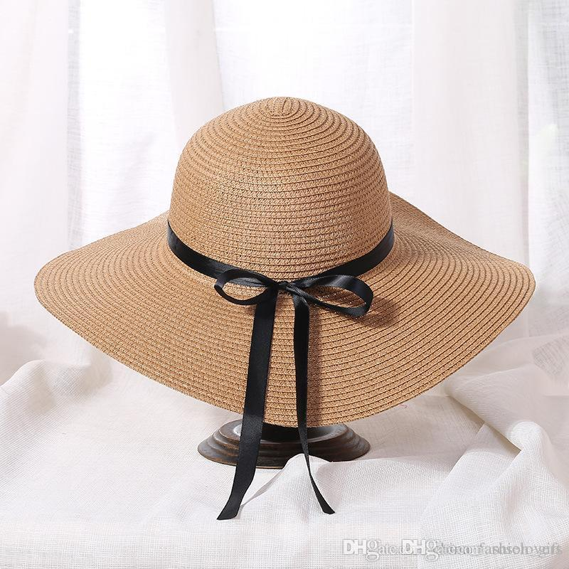 Wide Brim Hats Khaki Straw Hat Boho Large Floppy Hats Summer Beach Hat For  Lady Sun Hats For Women Wedding Hats Baby Hats From Roselovers 8da56d3f294