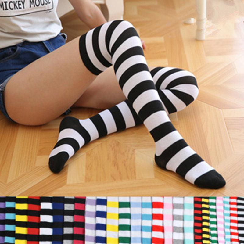 908fb5eb3d2 Colorful Sexy Striped Boots Compression Stockings Girls Over Knee Socks  Women s Socks Long Body Fashion Thigh High Women
