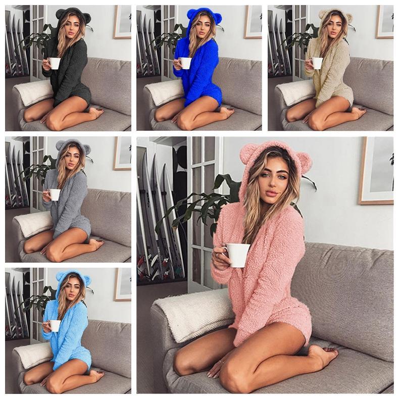 a7d1603628da 2019 Sherpa Pullover Hooded Fleece Jumpsuits Pajamas Women Warm Soft  Rompers Cute Ear Long Sleeve Shorts Sleepwear Leisure Loungwear MMA1045 30  From ...