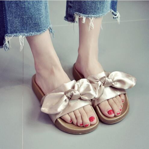 14f04c5b4 Women Slippers Silk Bow Slides Summer Beach Shoes Woman No Fur Slippers  Flat Heels Flip Flops Ladies Rihanna Bohemia Sandals Combat Boots Moccasins  From ...
