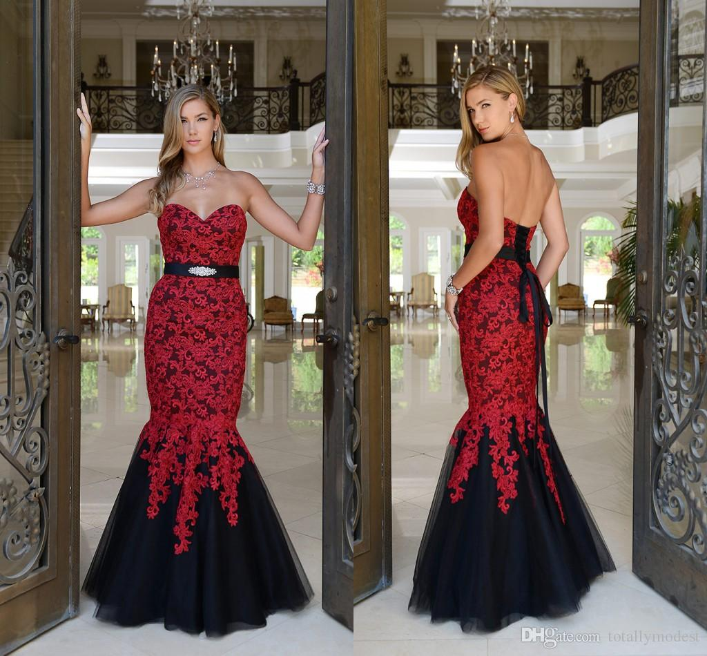 Mermaid Red And Black Gothic Wedding Dresses 2018 Sweetheart Lace Up Appliques Tulle Colorful Gowns Non White Robe De Mariee Western