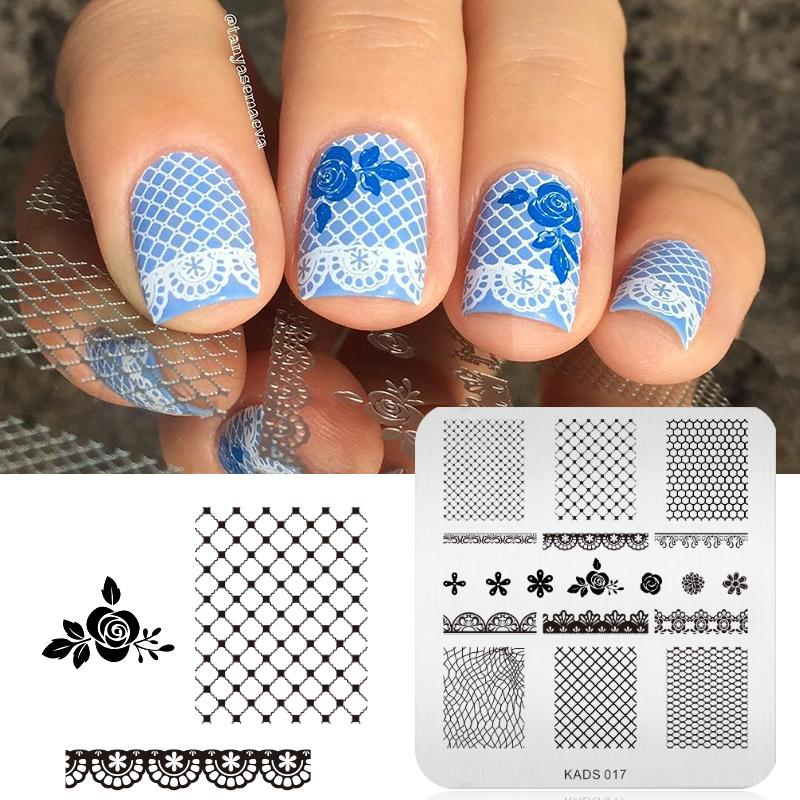 Grids Rose Lace Design Nail Art Stamp Stamping Image Plate Nail
