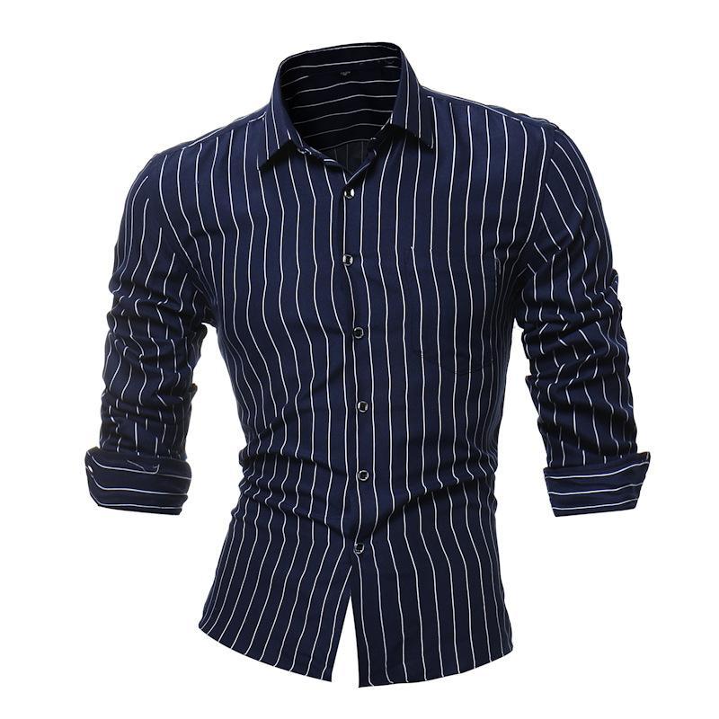 pretty nice b9623 284a2 Marca 2018 Moda maschile Camicia a righe bianche e nere a maniche lunghe  Tops Business Color Stripe Camicia elegante uomo Slim L-4XL