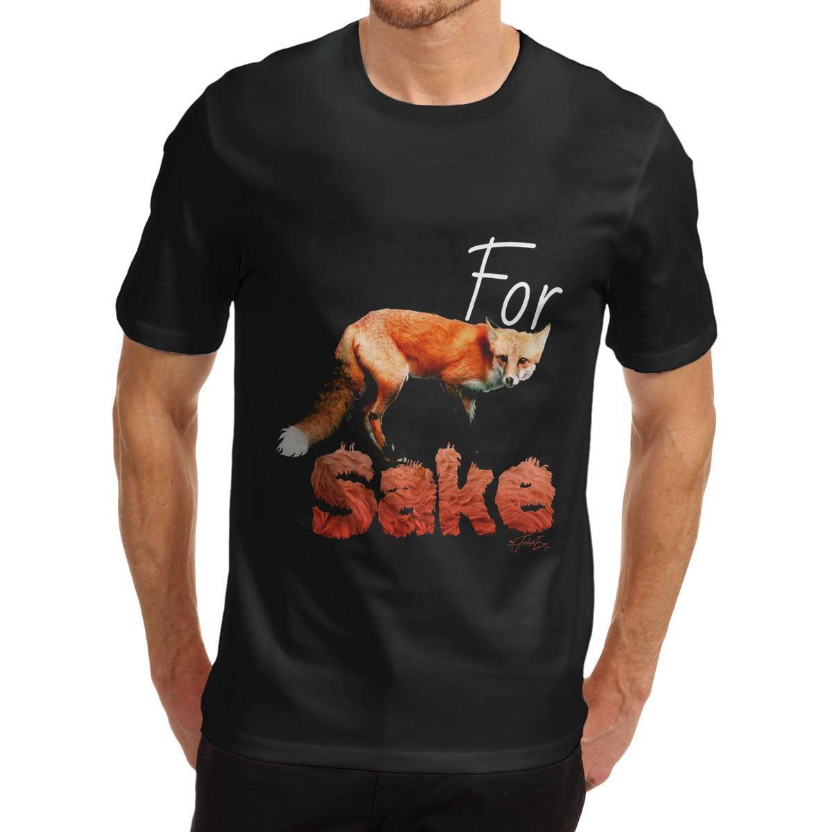 05a220e5c Compre Camiseta De Manga Corta De Diseño O Cuello De Diseño Mens Para Fox  Sake 100% Algodón Orgánico T Shirts A  11.0 Del Teespringshirts