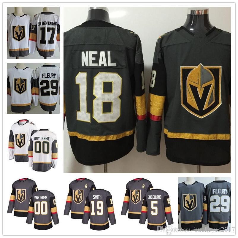 e90b703e6 2019 Hot Sale Vegas Golden Knights 18 James Neal 29 Marc Andre Fleury 5 Deryk  Engelland 19 Reilly Smith 2018 Home White Ice Hockey Jerseys From  Buckeyes2017 ...