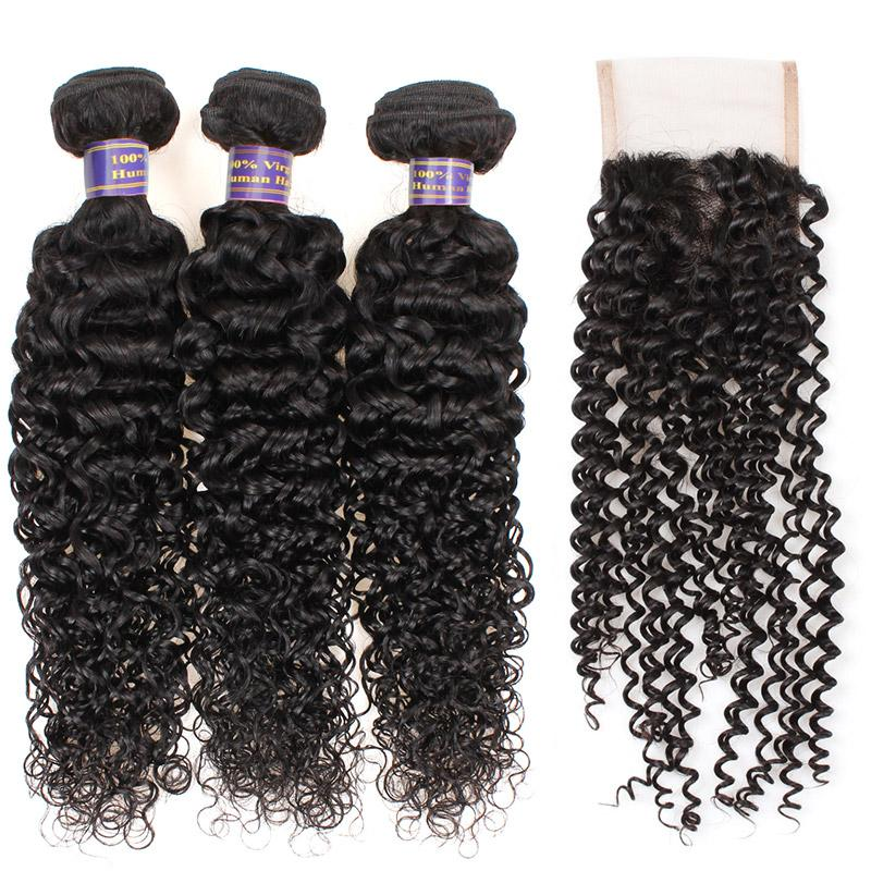 Fasci di capelli brasiliani economici con chiusura in pizzo 4 * 4 onda d'acqua peruviana dei capelli onda profonda onda allentata estensioni dei capelli vergini profondo ricci