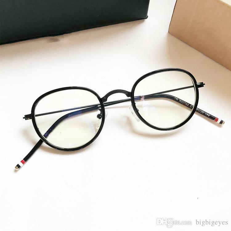 Retro Small Round Frame Glasses Plain Text Full Frame Glasses Frame ...