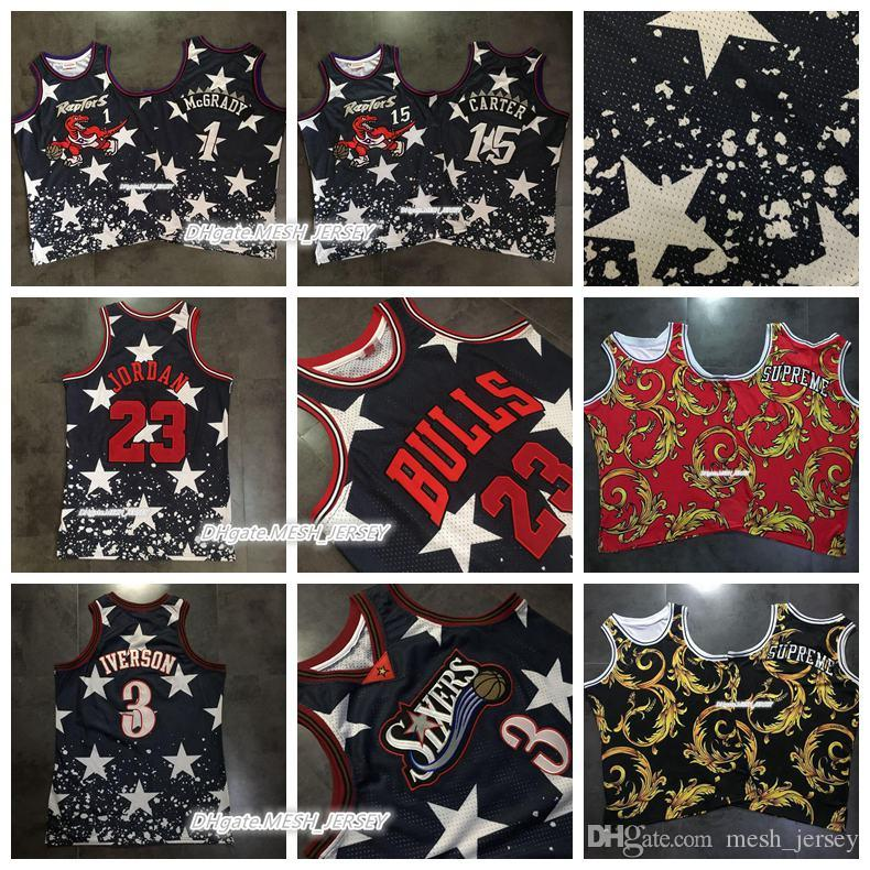 1c579aa2f 2018 Hot Sale Men Bulls 23 Michael MJ 3 Allen Iverson Raptors 1 Tracy  McGrady 15 Vince Carter Dense AU Mesh Fabric Jerseys New Shorts New Jersey  James ...