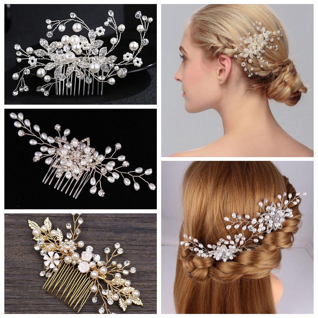 2019 Golden Leaf Bride Interposing Comb Hand Made Pear Fashion