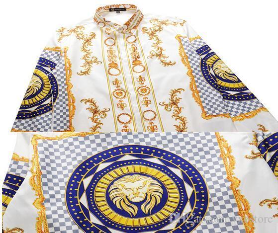 2018 3D Harajuku Style Printing Harajuku Medusa Gold Chain Print Shirts Retro Floral Men Long Sleeve Tops