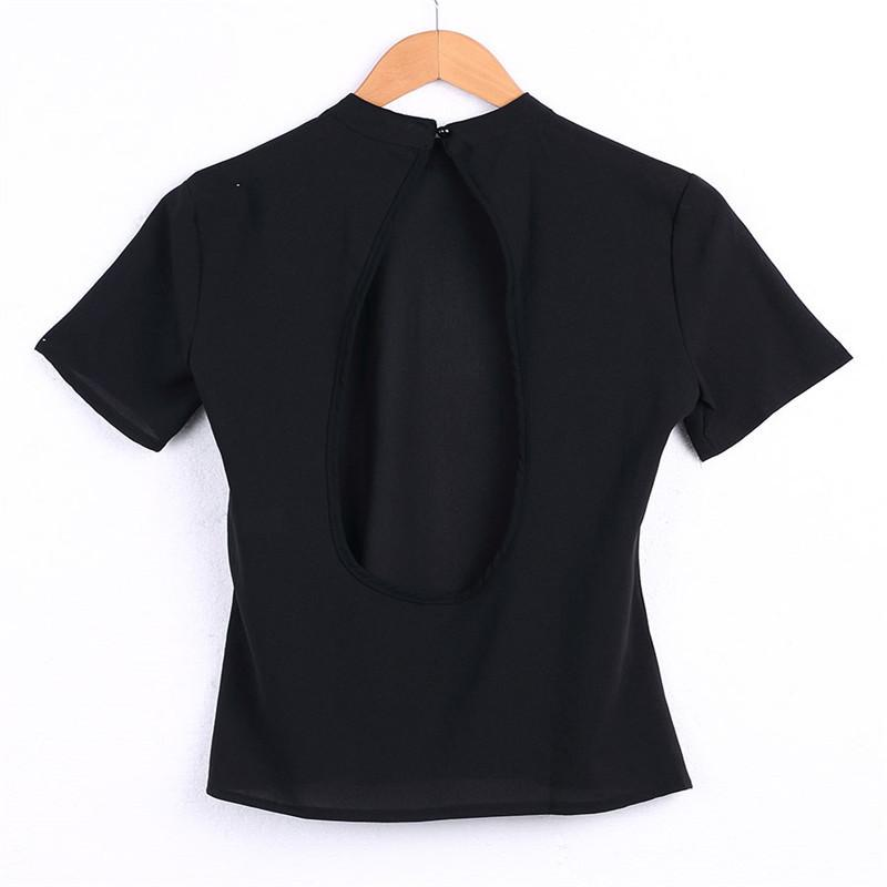 18d67a1d9d6 Summer Tops Tees New Fashion T-Shirt Women Casual Backless Tunic Tops Short  Sleeve T-Shirts Camiseta Mujer