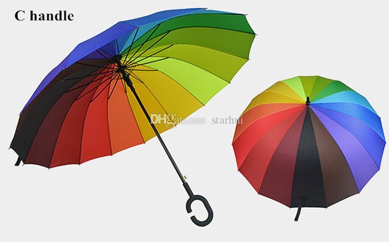 C 훅 레인보우 우산 롱 핸들 16K 스트레이트 Windproof 다채로운 명주 우산 여성 남성 재고 있음 WX9-637