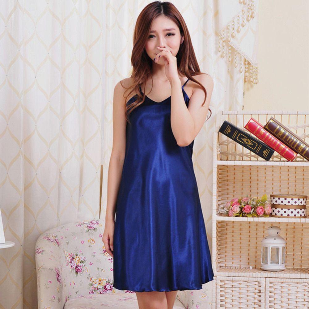 8e3449c313 2019 Summer Sexy Women Nightwear Mini Nightgowns Tempatation Deep V Straps  Skirts Silk Sleepwear Plus Size Solid Color Night Dress 05 From Maoyili