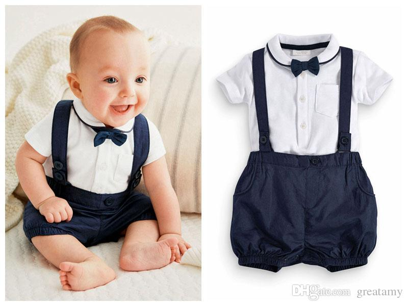 b820ce79c Newborn baby boy outfits Cute cotton T-shirt and overalls set for 0-24M baby  T-shirt+short 2pcs suit infant clothes outfit