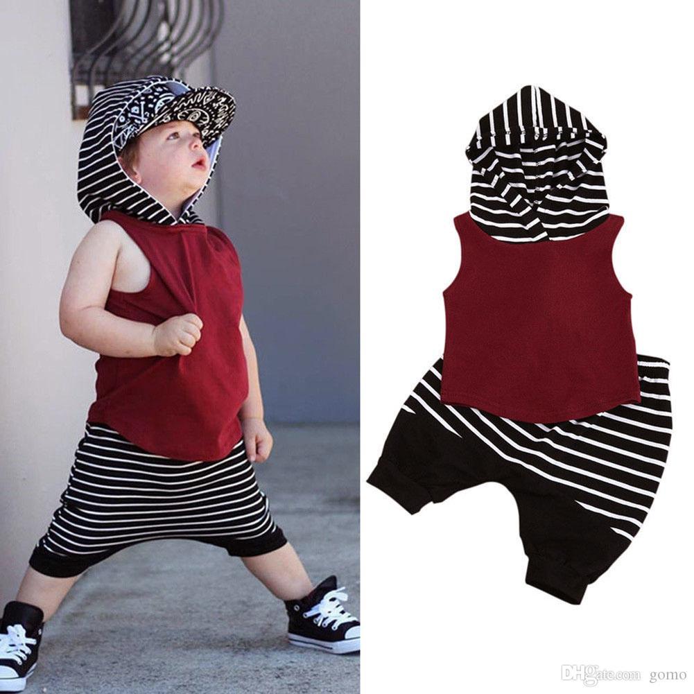 34c7d25386fca2 2019 Causal Summer Children Clothes Set Baby Boys Hooded Sleeveless ...