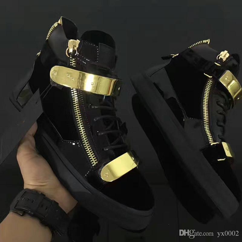 ab8fe6507d Luxury men casual shoes mens trainers brand new women sneakers with Metal  decoration rivet Patent leather Double zipper chao18051501