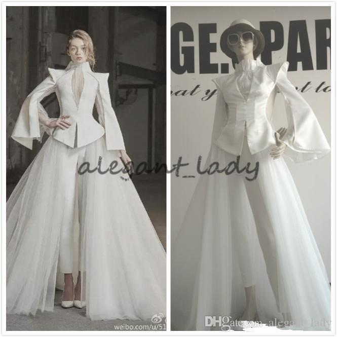 Long Sleeve Suit Pants High Neck Unique Design Luxury Evening Gown Ivory Prom Dress With Train Illusion Two Pieces Custom Made Plus Size