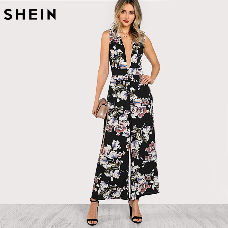 a316933372dc 2019 SHEIN Deep V Neck Sexy Jumpsuit Multicolor Floral Sleeveless Mid Waist Plunge  Neck Belted Sleeveless Palazzo Jumpsuit From Buxue