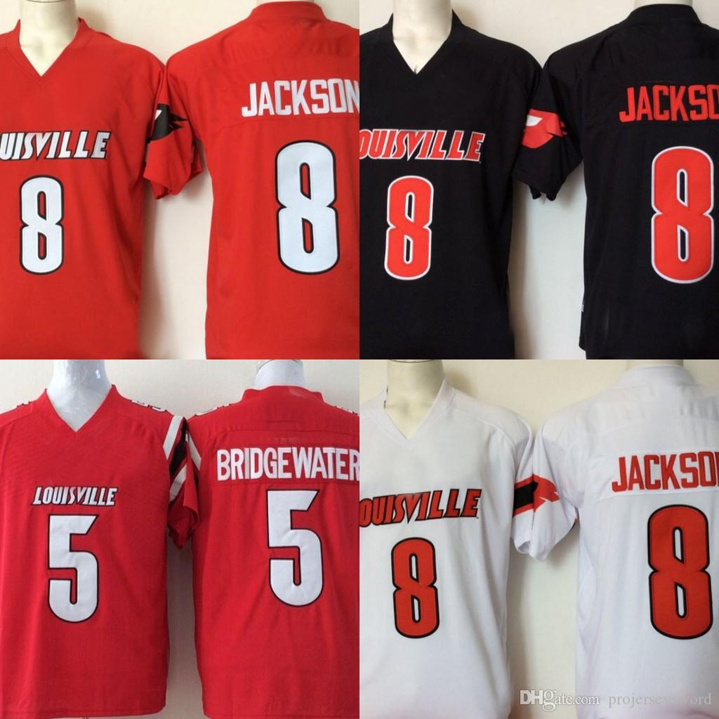 brand new cc2bd 4b601 Mens Louisville Cardinals College Jersey Stitched 8 Lamar Jackson 5  Bridgewater Red Black White Football Jerseys