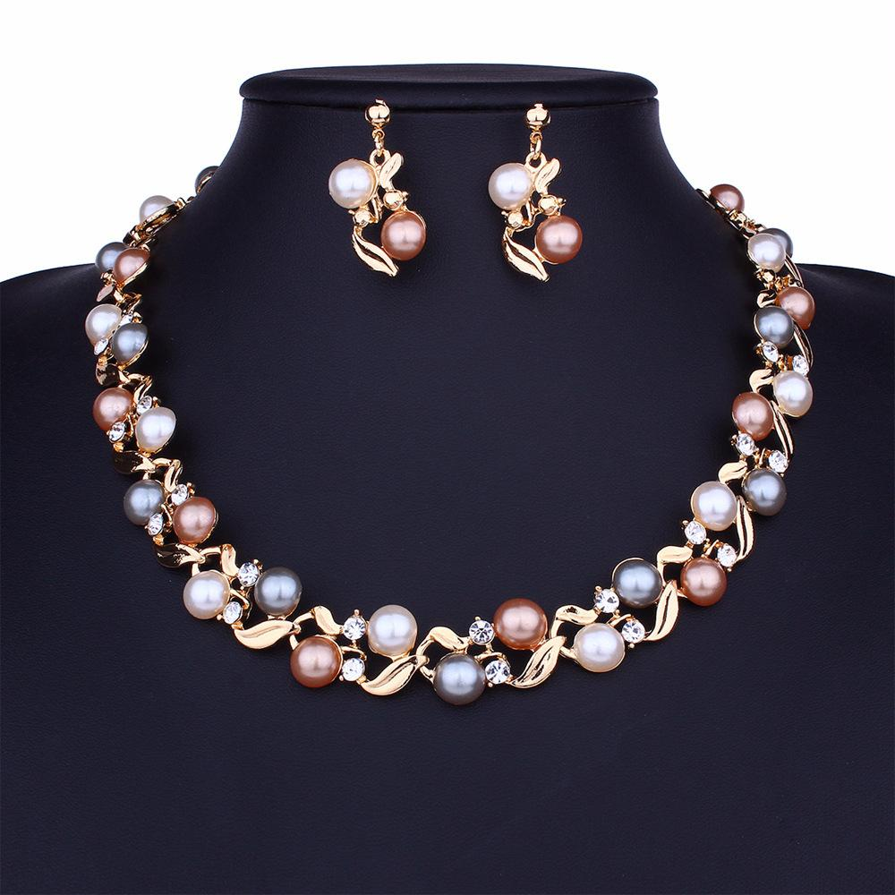 e9e9e0d607bc3 Imitation Pearl Necklaces Earrings Set - Gold Silver Tone Statement  Necklace Pearl Choker Necklace Jewelry Set Womens Gifts Wholesale