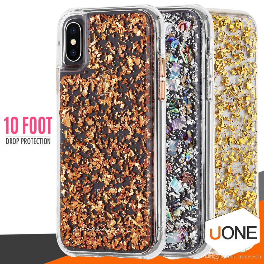 quality design fd931 8cdd5 CASE MATE For iPhone X Case Hybrid Armor Real Mother of Pearl Slim  Protective Design for Apple iPhone X 8 6 6s 7 Plus Samsung s9 plus cases