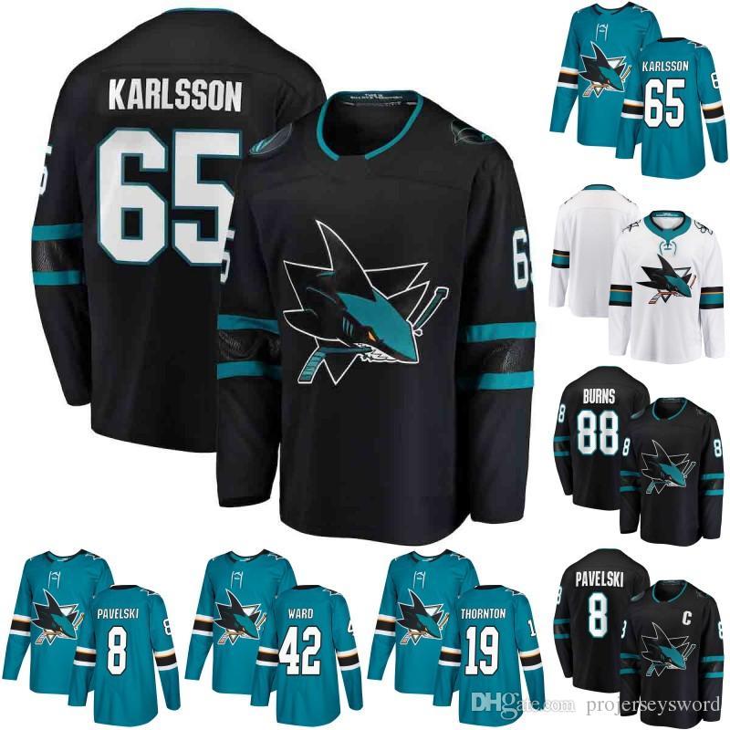 San Jose Sharks Jersey Mens 65 Erik Karlsson 19 Joe Thornton 88 Brent Burns  8 Joe Pavelski 9 Evander Kane 39 Logan Couture 42 Joel Ward UK 2019 From ... f44b1a19a15