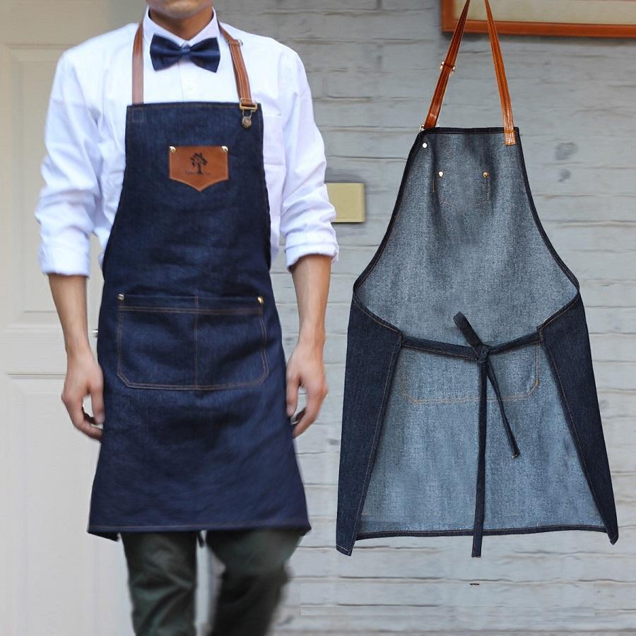new simple antifouling kitchen apron women and men delantal chef work pinafore denim sleeveless avental coffee shop aprons christmas apron personalised - Kitchen Apron