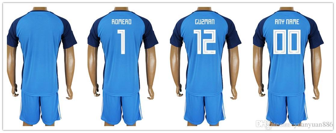 a37763fb0 Mens Argentina Jerseys 2018 Soccer World Cup Jersey 1 Sergio Romero 12  Nahuel Guzman Customize Name And Number Football Shirt Kit Cheap Soccer  Jersey High ...