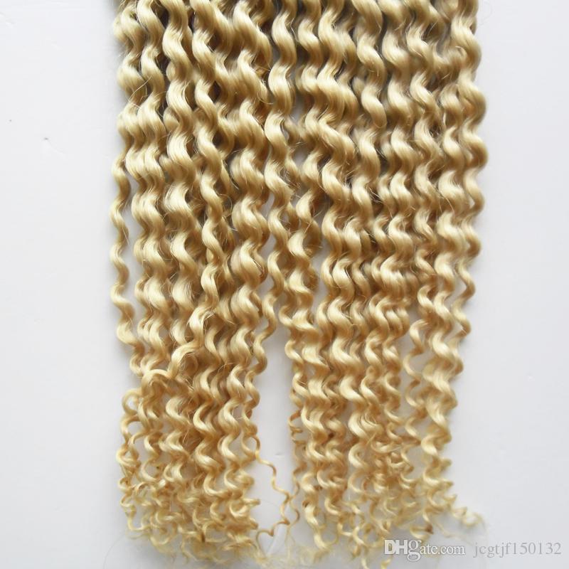 200g #613 Bleach blonde kinky curly Fusion Hair I Tip Stick Tip Keratin Machine Made Remy Pre Bonded Human Hair Extension
