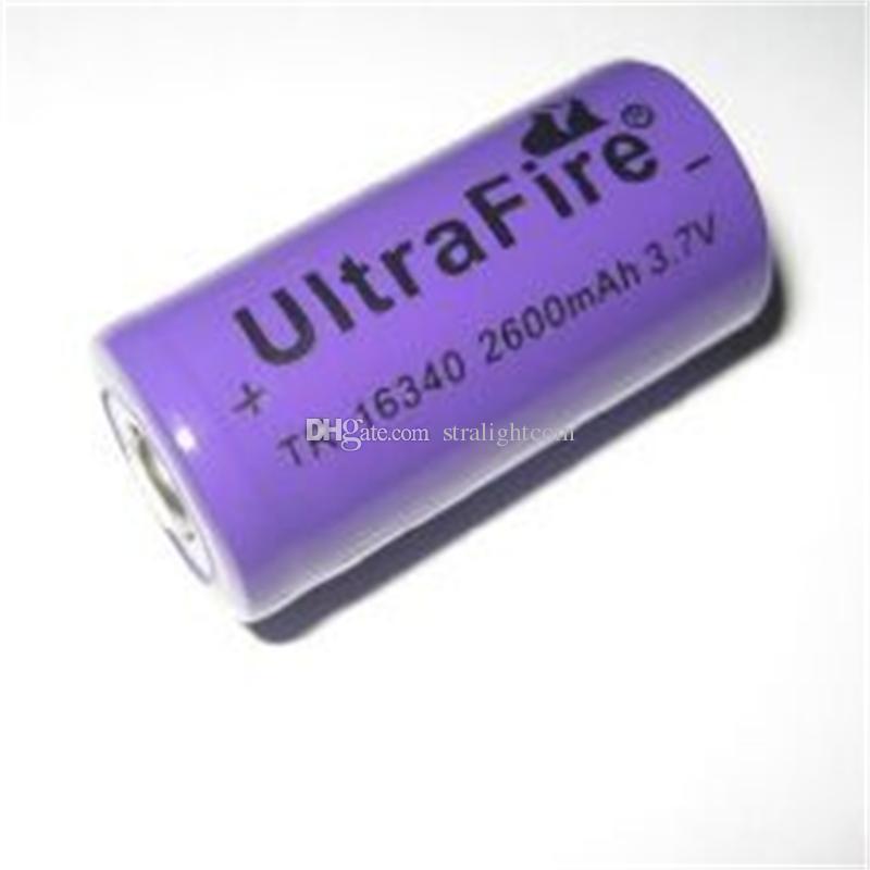 púrpura UltreFire CR123A 16340 2600mAh 3.7V batería de litio recargable libre del envío
