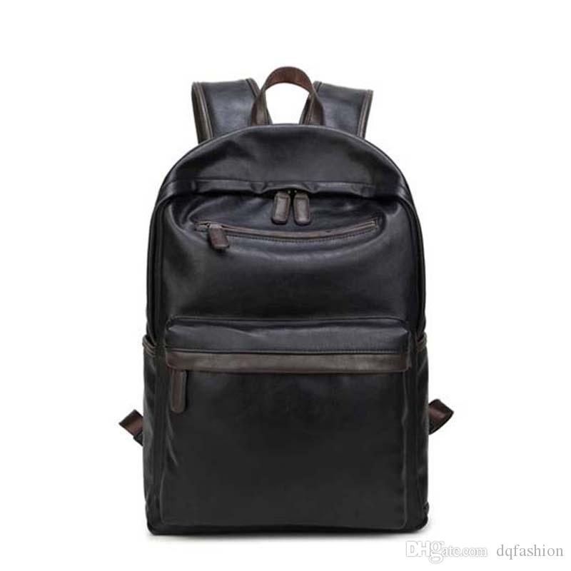 6d24bac300b6 Fashion Bag Leather Mens Laptop Backpack Casual Daypacks For College High  Capacity Trendy School Backpack Men Travel Bag Buy Bags Online Bags Online  ...