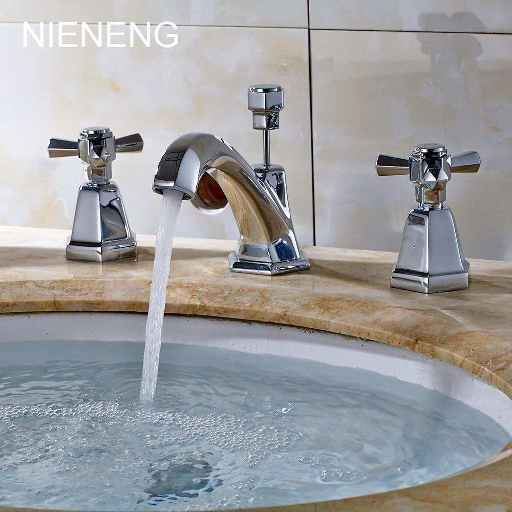 2018 Nieneng Bathroom Faucet Vintage Sink Faucets Tap 3 Hole Basin ...