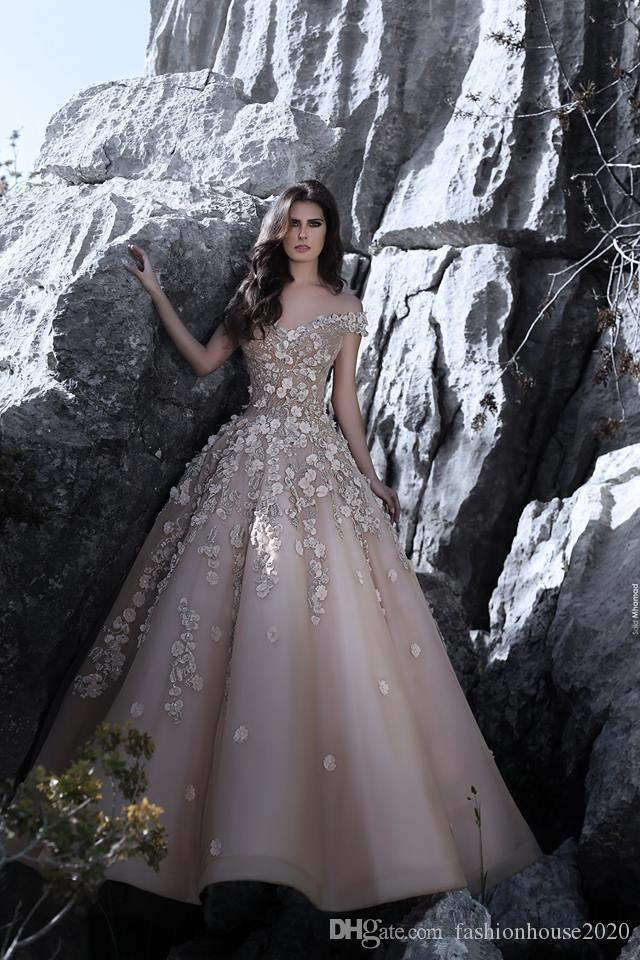 2018 Hot Prom Dresses Off Shoulder Lace Applique 3D Flowers A Line Cap Sleeves Floor Length Special Occasion Evening Gowns Wear For Women