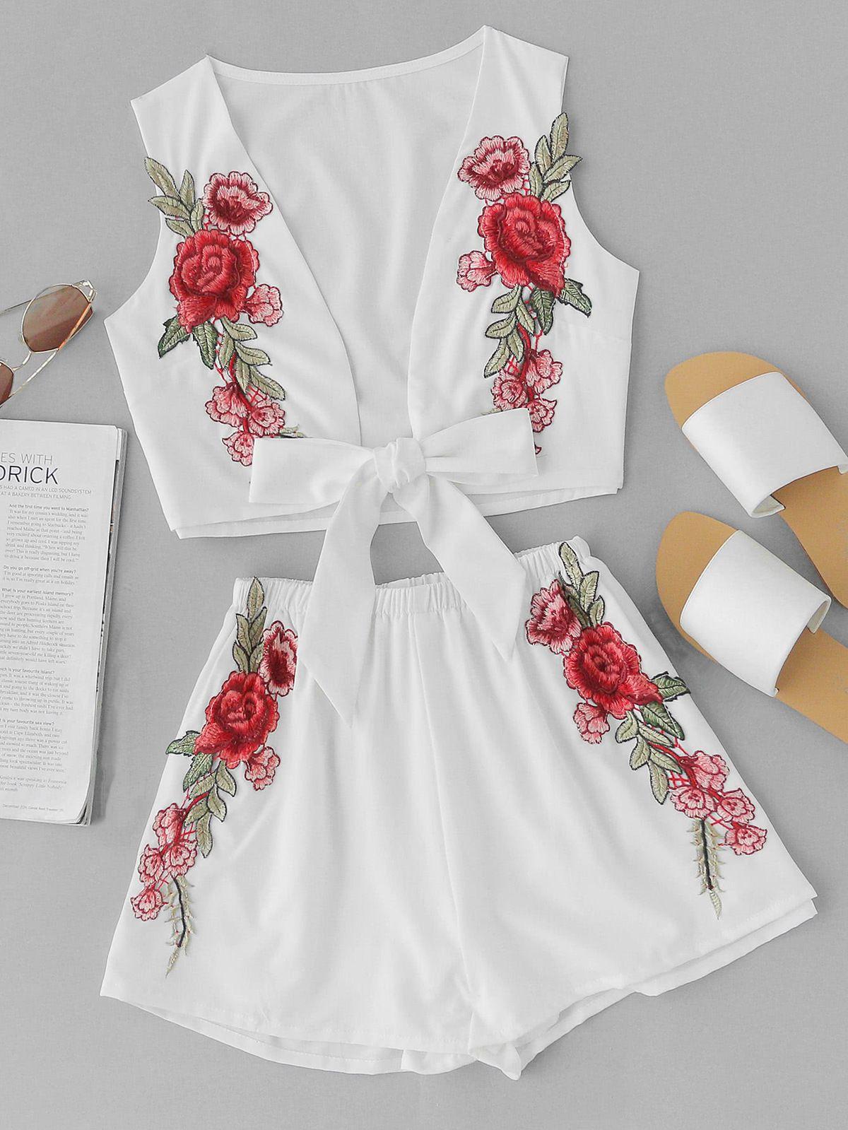 Nuevo patrón Rose bordado apliques Sandy Beach en traje de vacaciones  Twinset