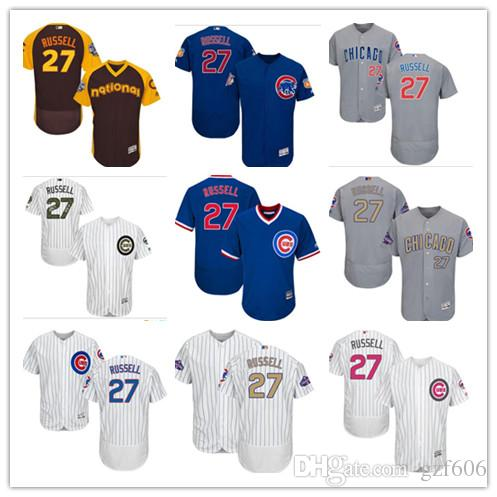 9703bb76ca4 2018 Custom Men S Women Youth Majestic Chicago Cubs Jersey  27 Addison  Russell Blue Grey White Kids Girls Baseball Jerseys From Gzf606