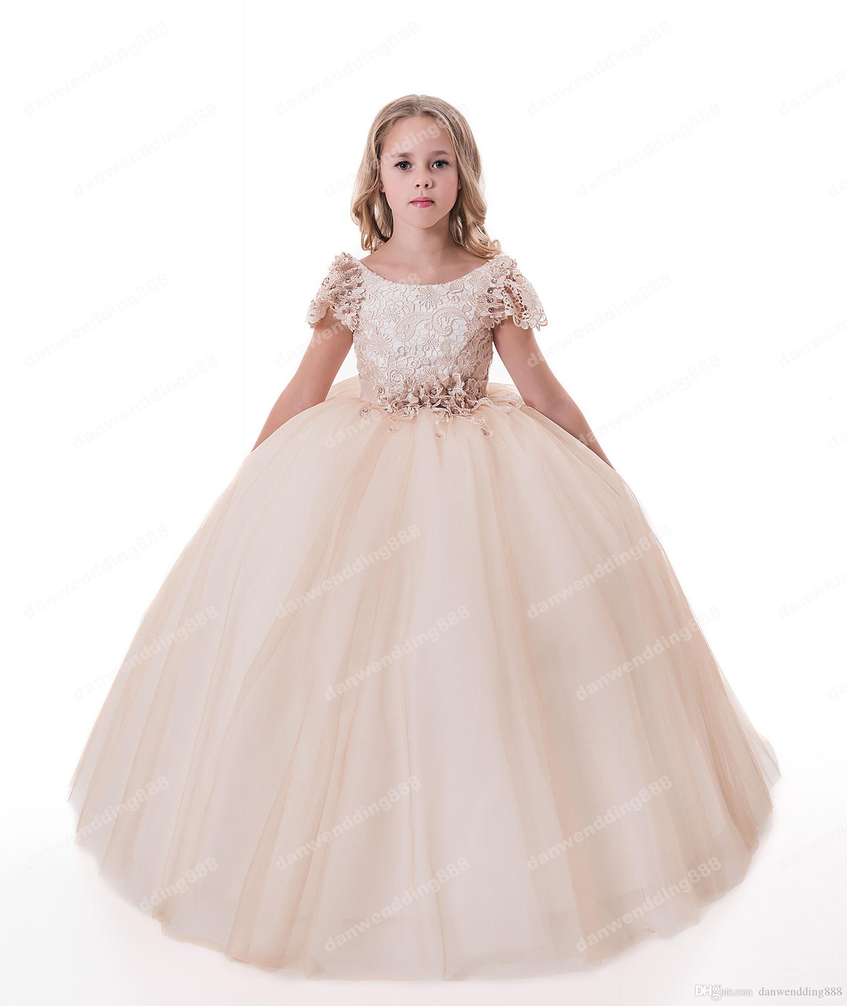9e71b6510 Beauty Champagne Lace Tulle Scoop Flower Girl Dresses Princess ...